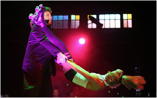 Lady being spun around in Circus act