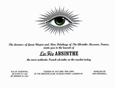 Invitation for launch of la Fé absinthe at the groucho club, London