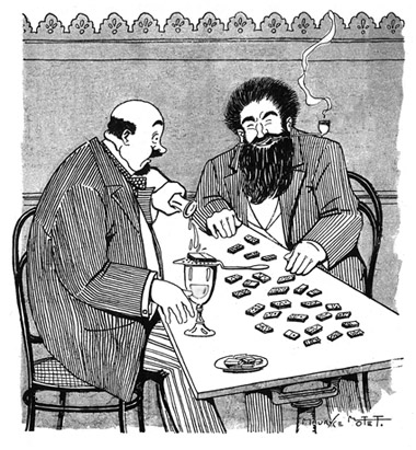 men playing dominoes drinking absinthe (cartoon)