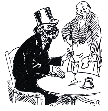 Top hat man drinking absinthe (cartoon)