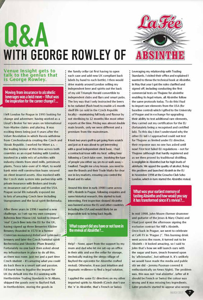 Venue Insights magazine Q&A with George Rowley