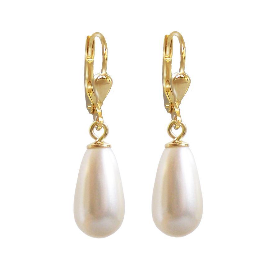 Hochwertig vergoldete Ohrringe mit synth Perlen in