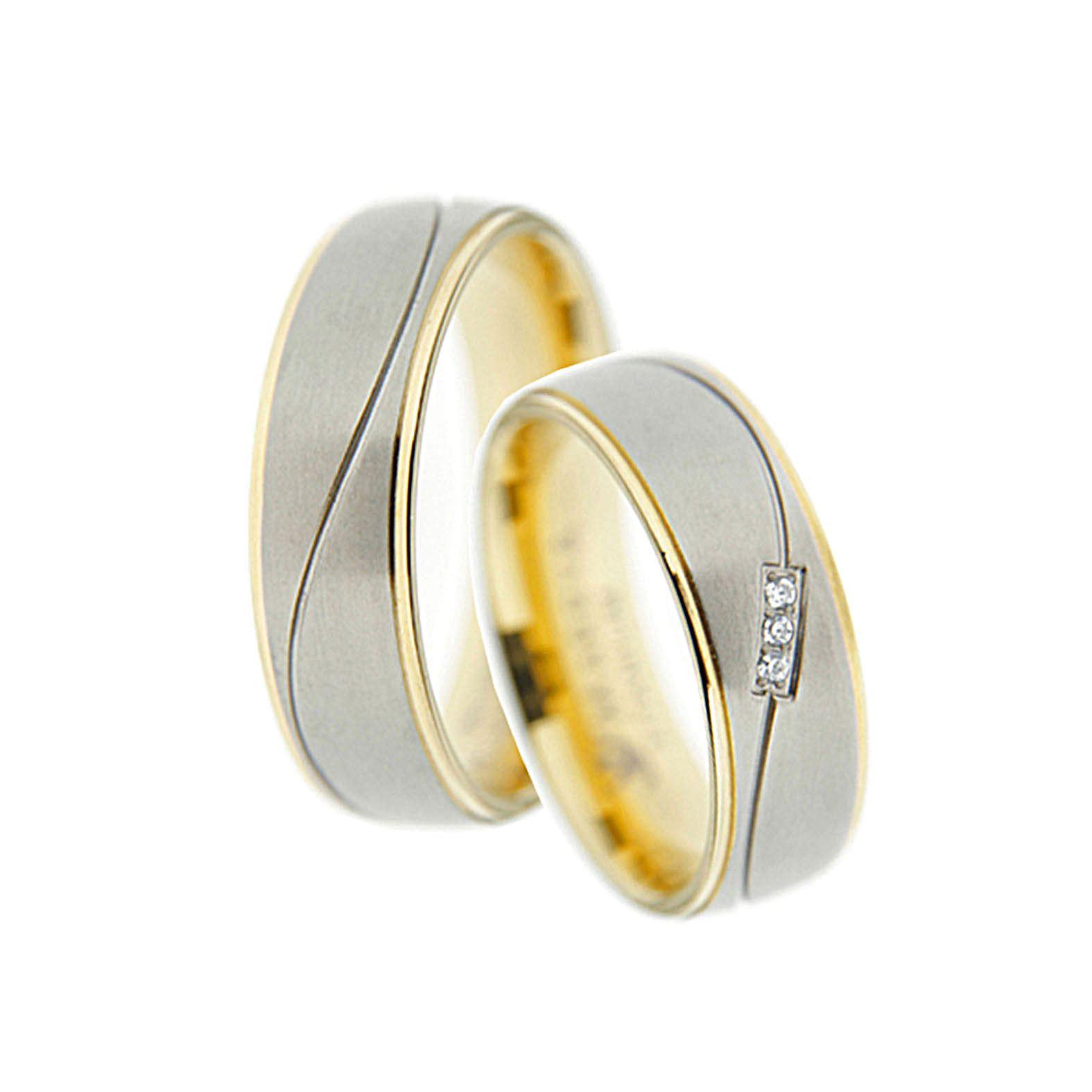 Bicolor RingPaar Verlobungsringe Freundschaftsringe