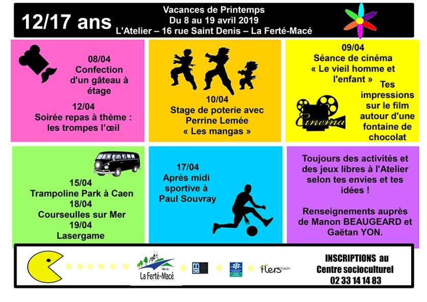 Atelier 12/17 - Vacances Printemps 2019