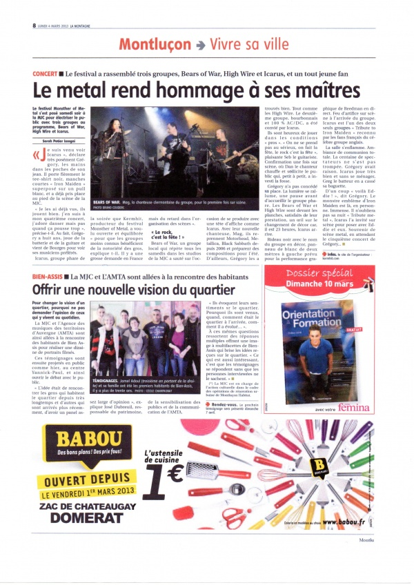 ARTICLE LA MONTAGNE 3 MARS