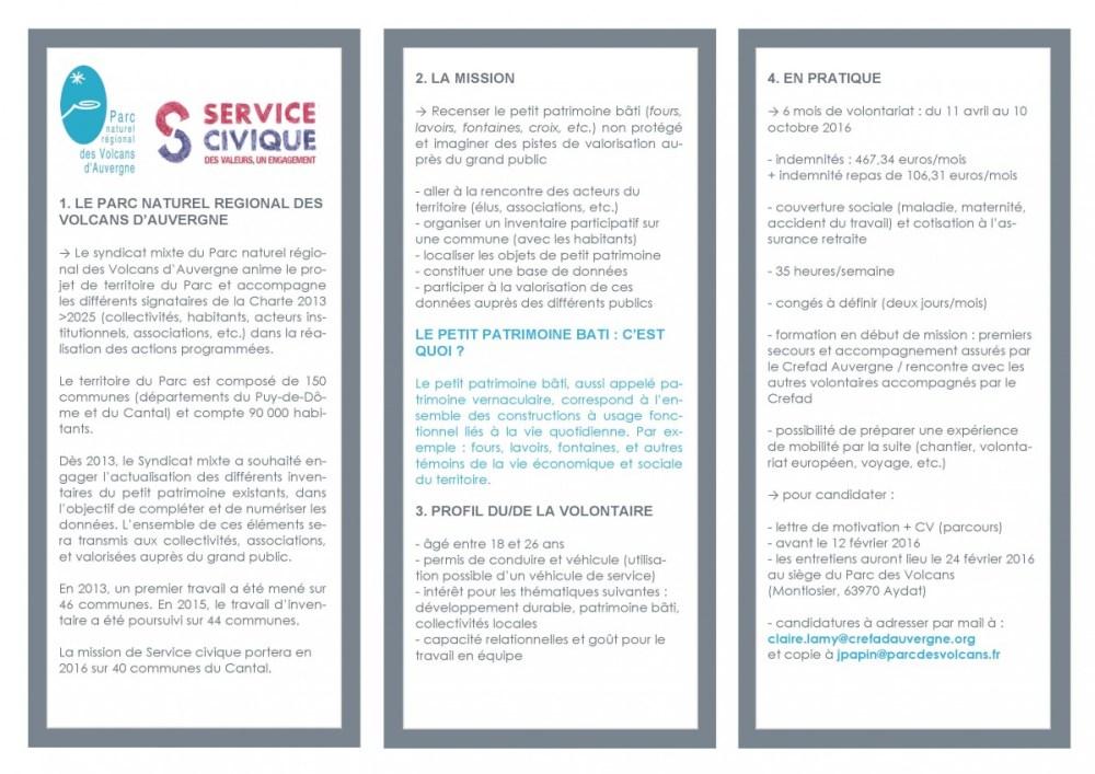 Offre service civique PNR 2016