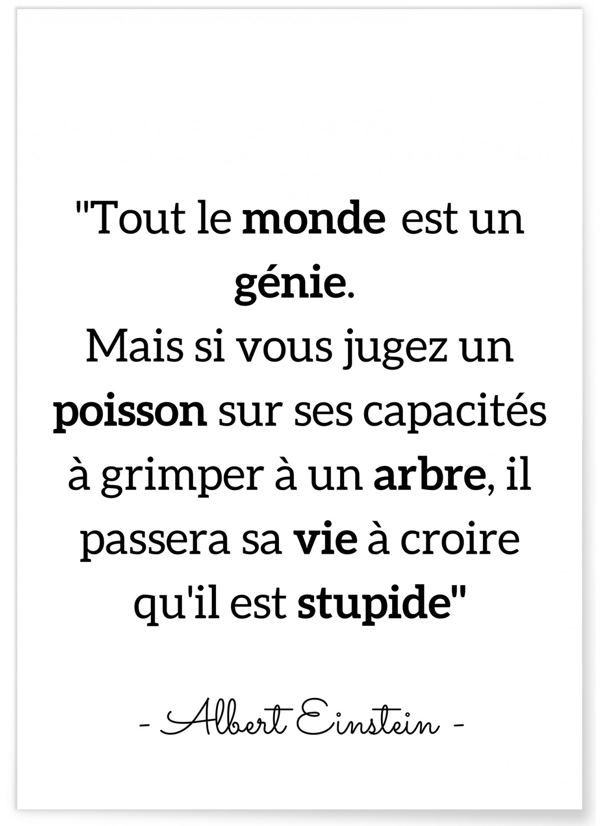 Tout Le Monde Est Un Génie : monde, génie, Affiche, Citation, Inspirante, Décorer, Salon, L'Afficherie