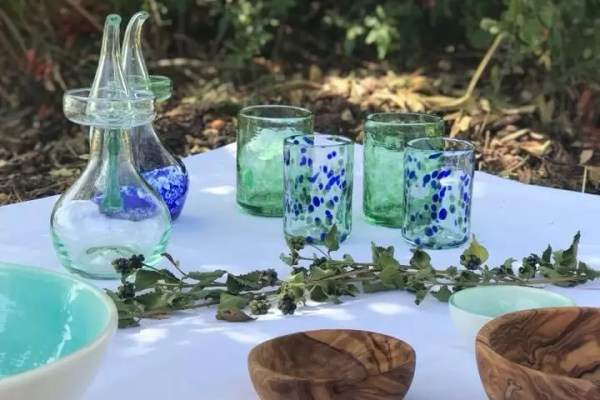 Aceiteras Vasos de Vidrio Azules y Verdes Mediterraneo Mallorca