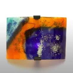 aplique vidrio naranja y azul