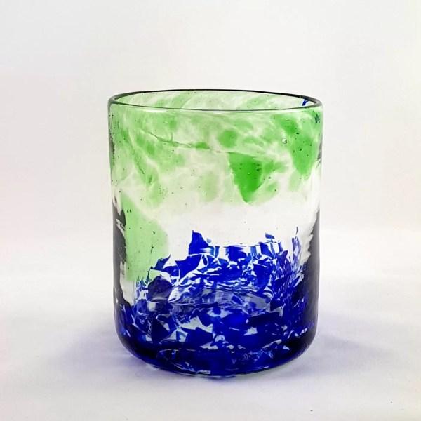 Vaso Verde Azul de Vidrio Lafiore