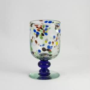 Copa Vidrio Transparente puntos y colores Lafiore