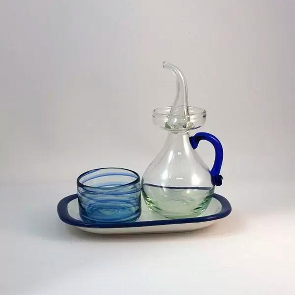 Set Azul Blue Glass - Ölkaraffe, Bowl & Platte Blau Set
