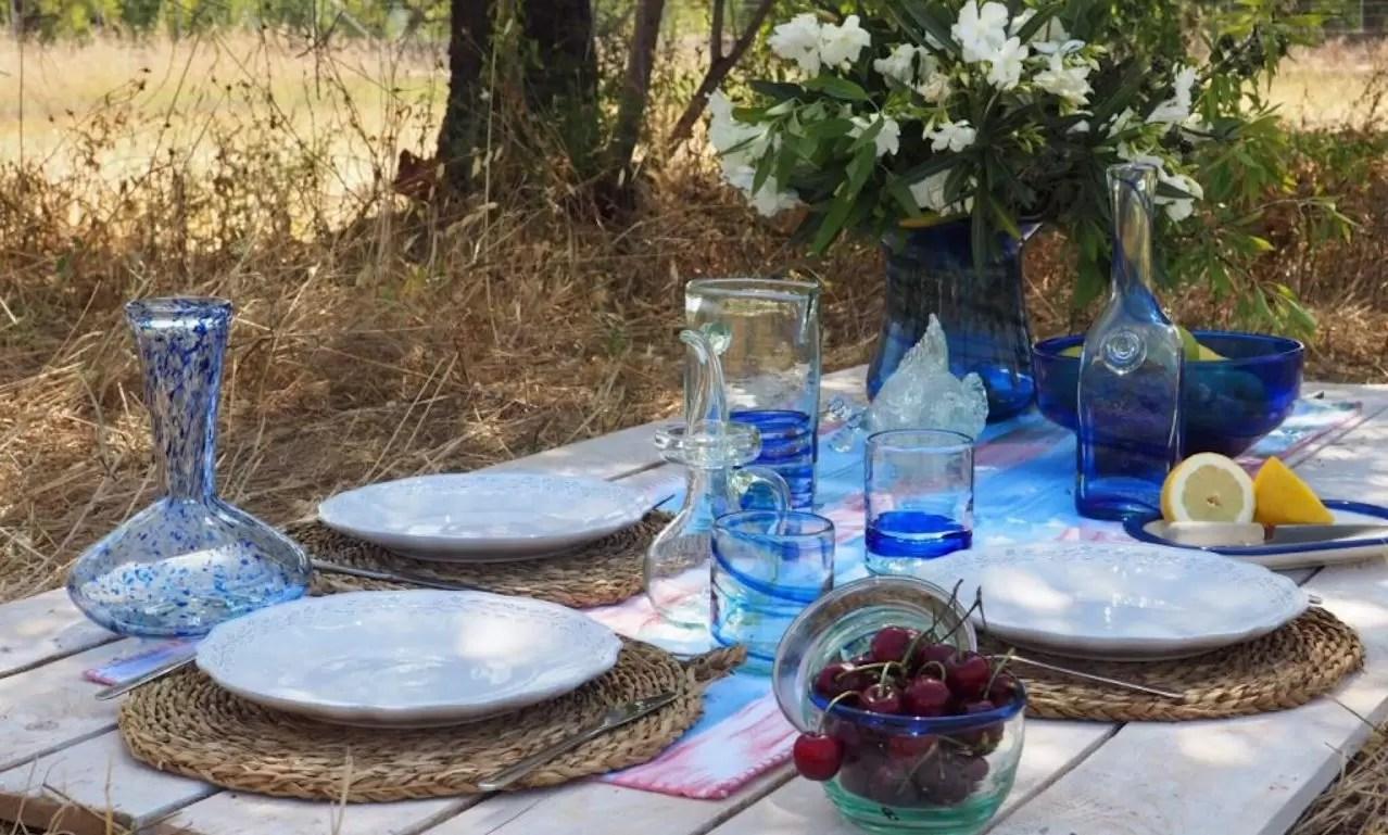 Mesa Mediterraneo Malloca Menaje Azul Lafiore.com  - Verano Creativo en Mallorca