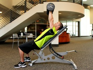 Bryant doing a dumbbell incline press at LA Fitness - B