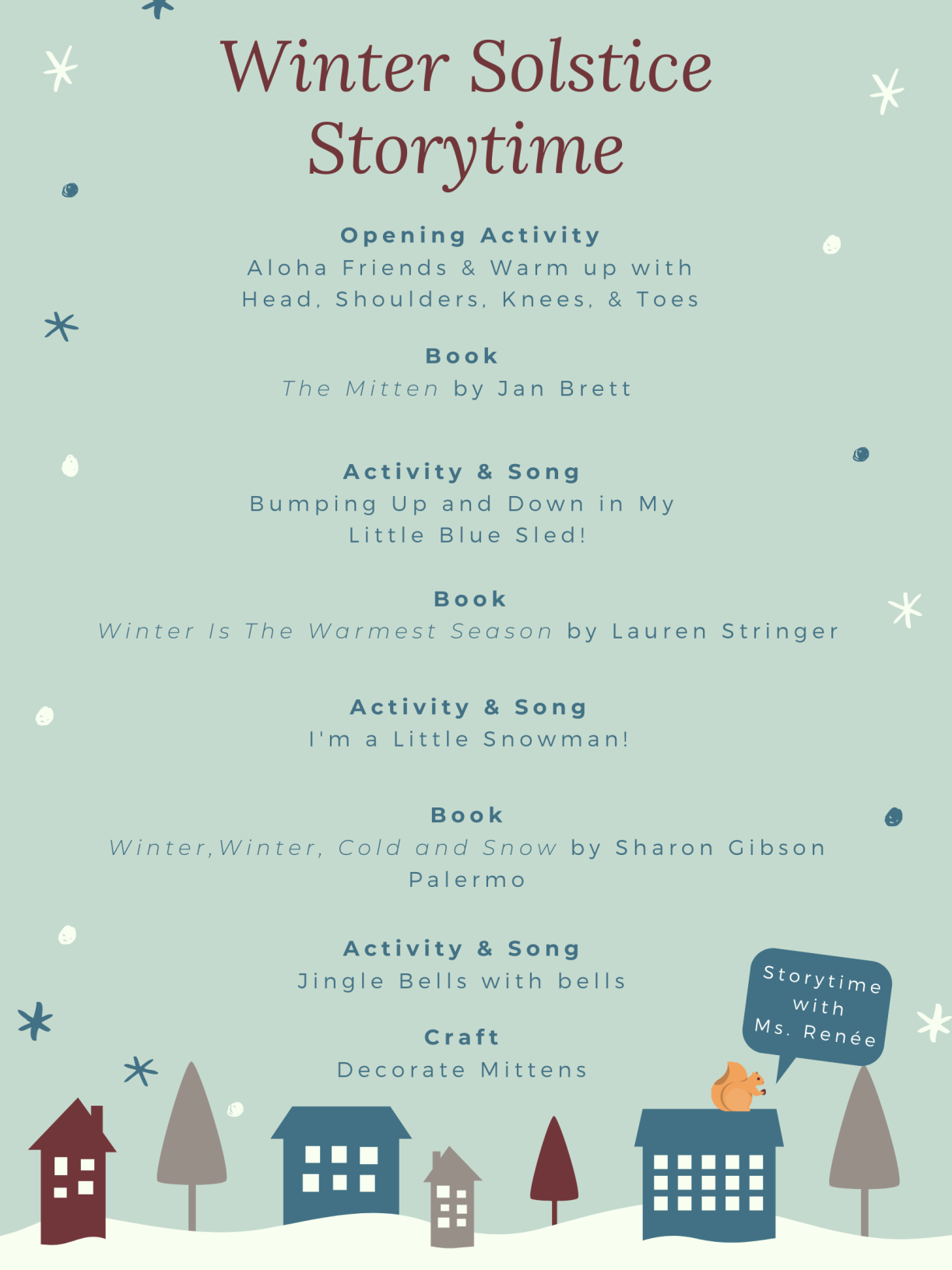 Winter Solstice Storytime Schedule