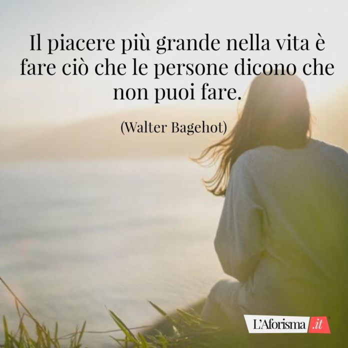 Il piacere più grande nella vita è fare ciò che le persone dicono che non puoi fare. (Walter Bagehot)