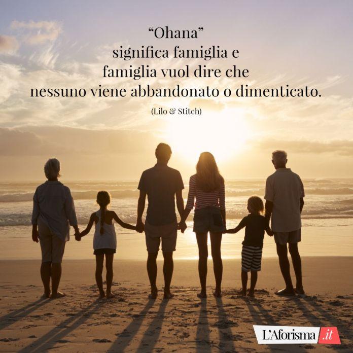 Hoana, significa famiglia e famiglia vuol dire che nessuno viene abbandonato o dimenticato. (Lilo & Stitch)
