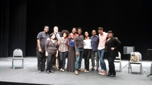 """sweet"" cast and crew after reading.  Dramaturg Jeremy White (second from left back row). Actors: Dionna Jenkins (second from left, front row), Ana Uzule, Wesley Johnson (behind Ana), Johnny Brantley III, Tiffany, Harrison David Rivers, and David Mendizábal (second from right)."