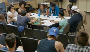Nina…Nina; you moved in with the rest of your baggage and planted your feet firmly on the ground.  Third day of rehearsals.  Around the table: Director David Mendizábal (facing the actors), Playwright Harrison David Rivers (next to Mendizábal), student stage manager , Dionna Jenkins, Ana Uzule, Johnny Brantley III, Tiffany, Wesley Johnson and Tia Watson