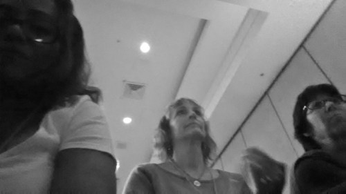 """Robin Byrd, Laurel Wetzork, and Debbie Bolsky sitting in on the opening presentation after our workshop """"Using the Senses: Character and Story Creation"""" at the Dramatists Guild Conference: Writing the Changing World, #writechange."""