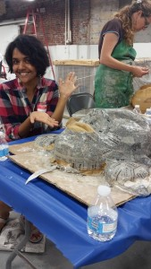 At the end of Day 1 with our paper mache man!