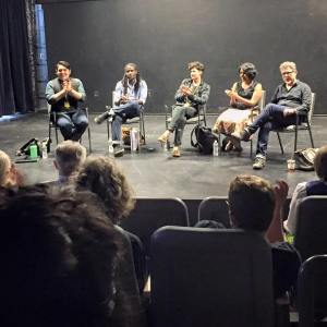 At the 2015 Victory Gardens Ignition Festival. L to R: Isaac Gomez, A. Zell Williams, Basil Kreimendahl, Madhuri Shekar, Josê Rivera