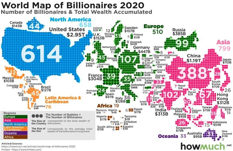 Mapa mundial de billonarios