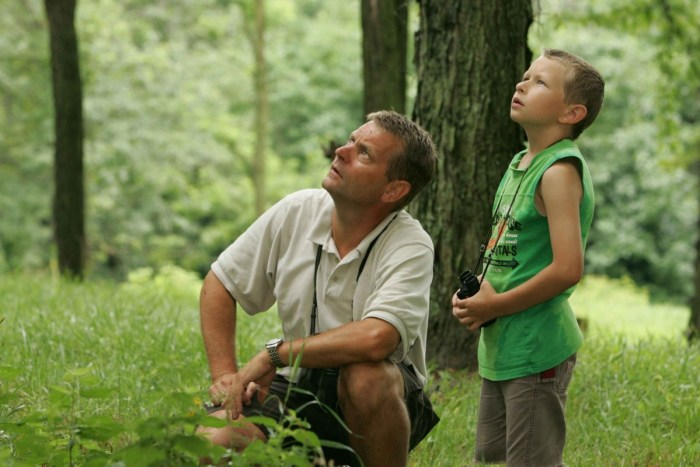 man forest grass person people lawn jungle father son birdwatching habitat afternoon enjoy leisurely