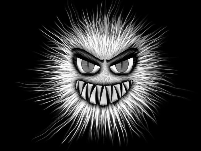 Monstro, Preto E Branco, Olhos, Agressivo, Presas