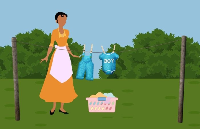 Laundry, Housework, Washing, Clothes, Woman, Hang
