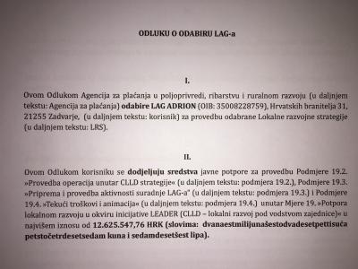 LAG-u ADRION DODJELJENO JOŠ 601.216,56 HRK