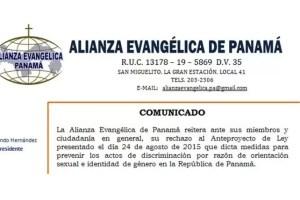 Alianza Evangélica de Panamá se pronuncia en contra del Anteproyecto de Ley 61