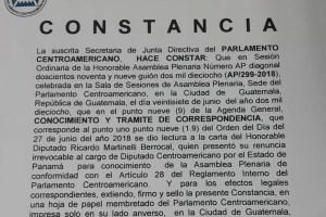 PARLACEN ratifica renuncia de expresidente Martinelli