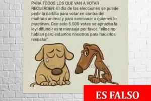 Circula imagen falsa en redes sociales sobre boleta de votación contra ley de maltrato animal
