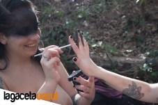 Momento makeup en el rodaje The ritval