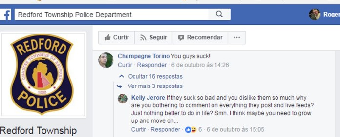Procurado xinga policiais no Facebook e recebe resposta (Foto: Redfort Township Police Department/Facebook)