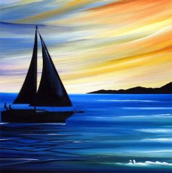 painting sunset sail abstract into sky sailboat paintings sailing acrylic canvas boat easy watercolor sailboats paint giclee fine beach print