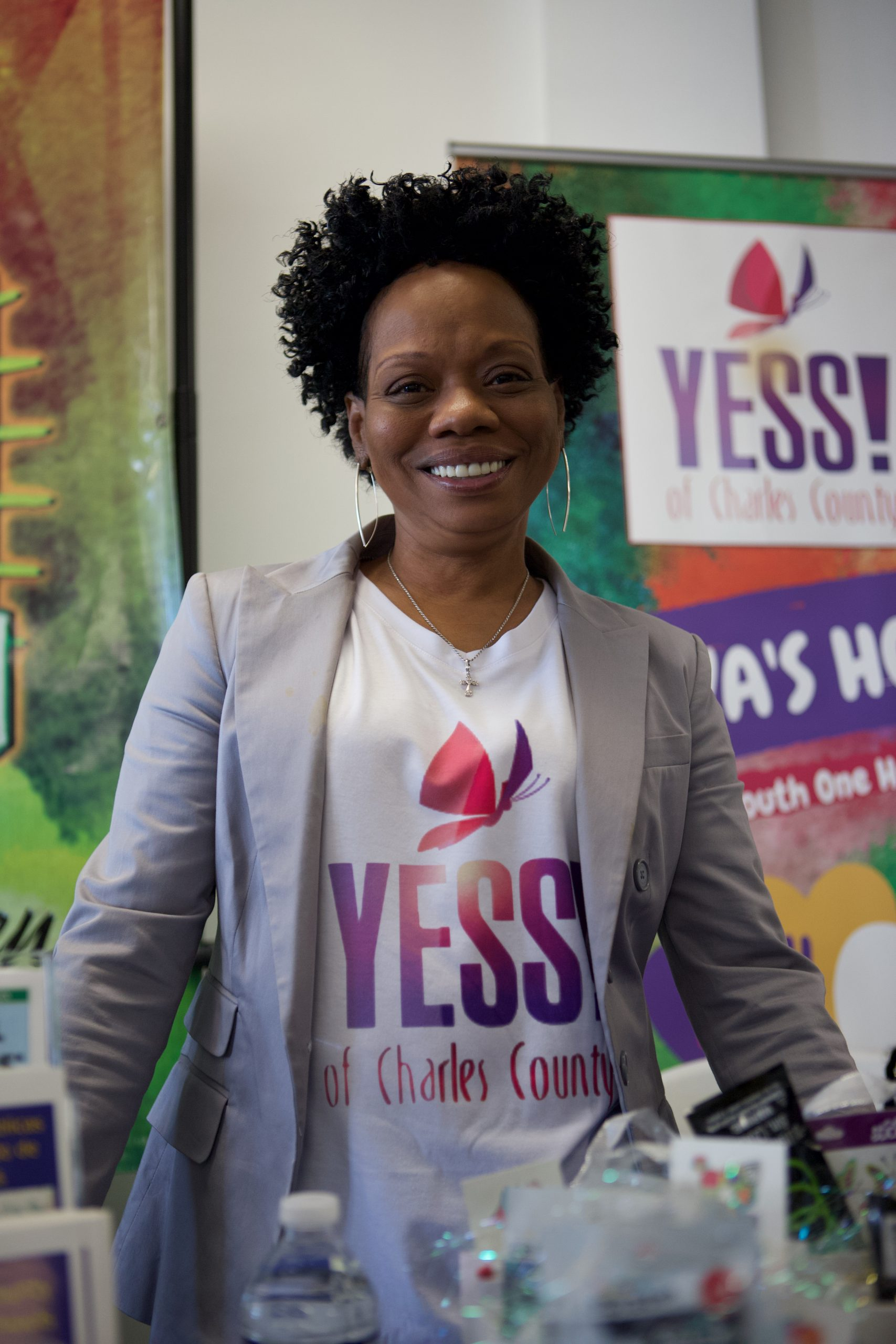 Jacqueline Younger, program coordinator at YESS! of Charles County, who participated in Saturday's community services pop-up in Bryans Road. (Photo by Paul Lagasse)
