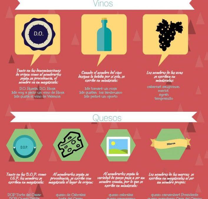 Mayúsculas y minúsculas en vinos y quesos (infografía)