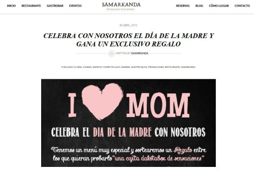 dia de la madre, ideas dia de la madre, restaurante dia de la madre, oferta dia de la madre, promocion dia de la madre, regalos dia de la madre, plan social media, restaurante samarkanda