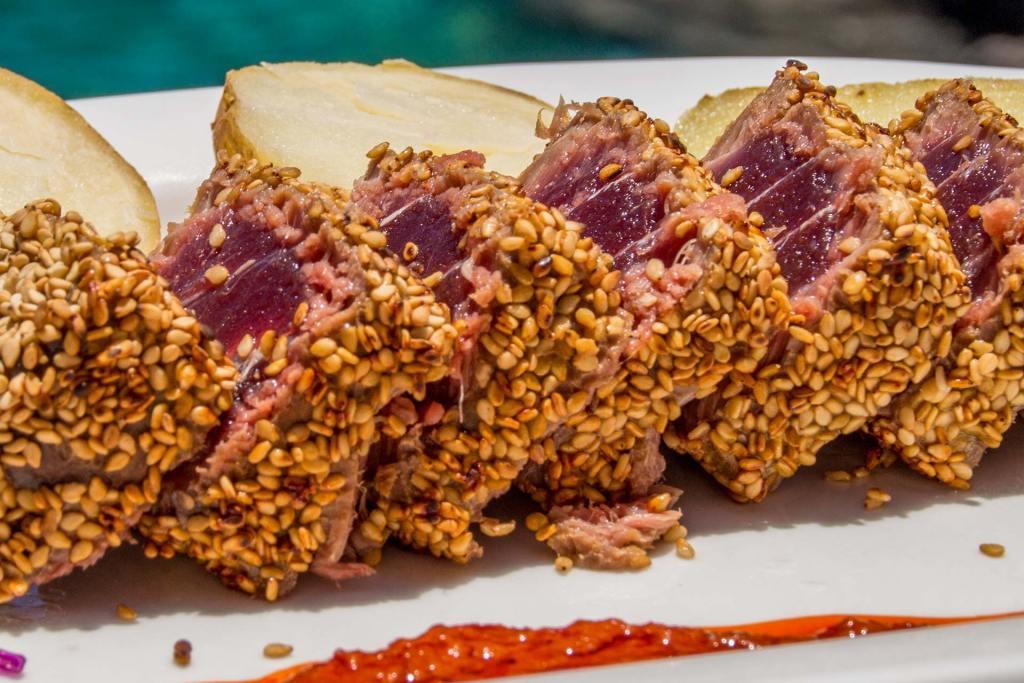 Tataki Atún Rojo Patudo · Restaurante La Gaviota · Piscinas La Fajana de Barlovento · La Palma · Islas Canarias
