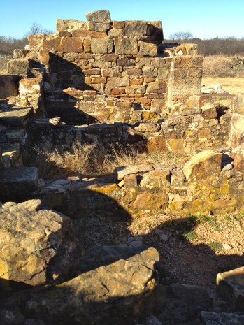 The walls of the jail have been torn down by townspeople to build the town of Jacksboro.