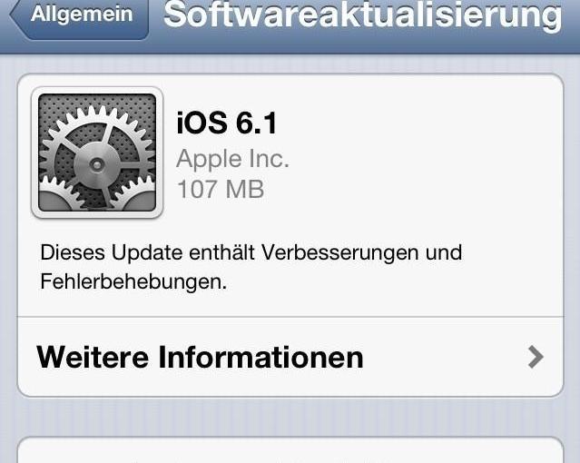 iOS 6.1 für iPhone und Co. ist da