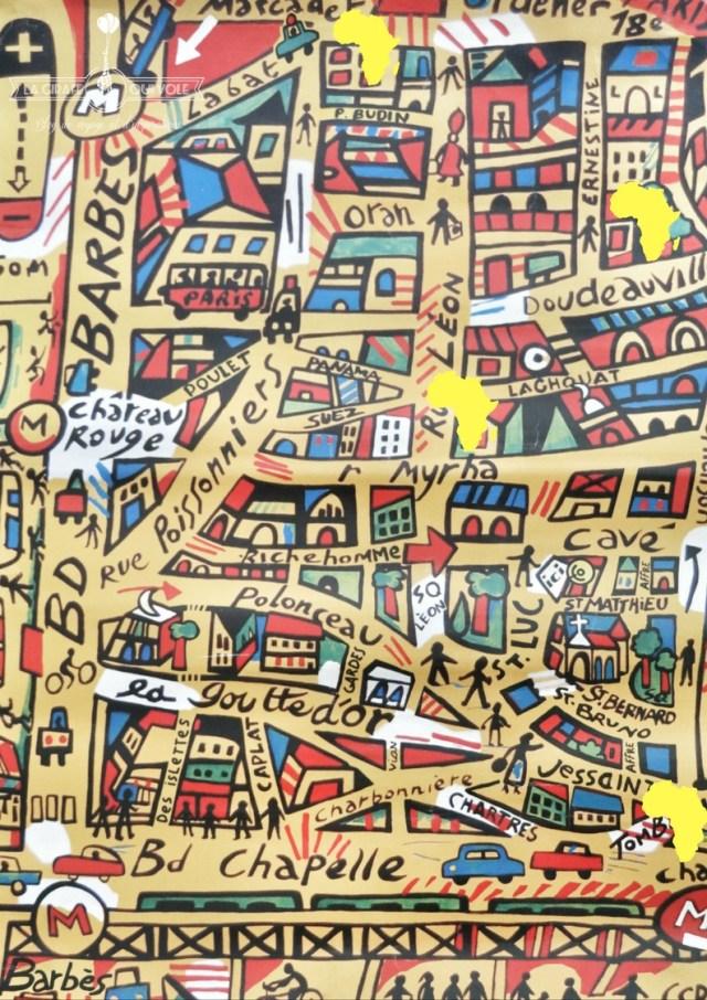 carte paris 18eme tissus africains