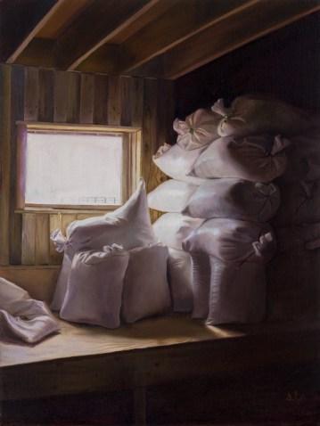 """""""Feedsacks II"""". Oil on linen panel. 2017. Artist, Suzanne Lago Arthur."""