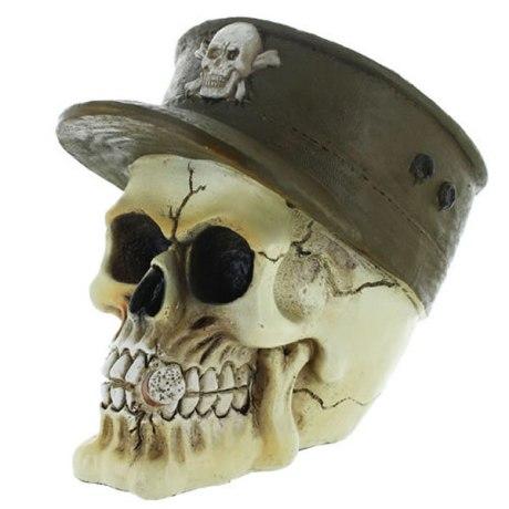 Figurine tête de mort Army en résine