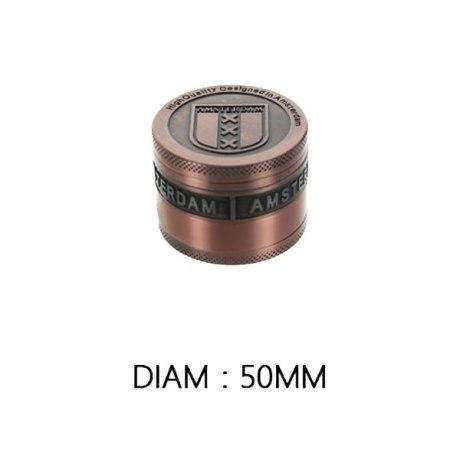 """Grinder métal """"Amsterdam"""" 4 parties (cuivre ou gold). Dim: 50mm"""