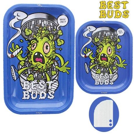 """Plateau Best Buds """"Green Head"""" + Grinder aimanté plastique."""