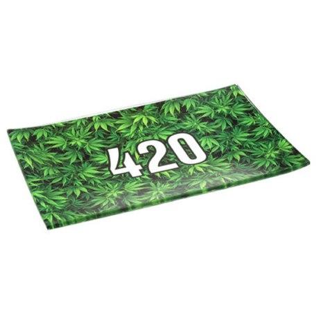 """Plateau de roulage en verre """"420 Green"""". Dim: 26cm x 16cm"""