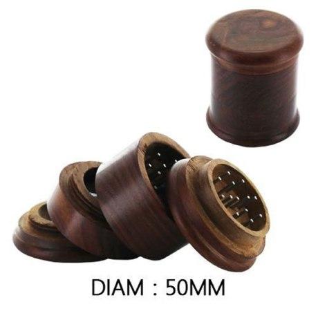 Grinder en bois 4 parties avec récupérateur de pollen, 50mm